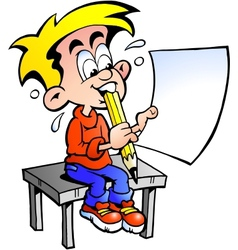 Hand-drawn of a young school boy sitting at a desk vector image
