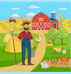 happy farmer with agricultural landscape and vector image