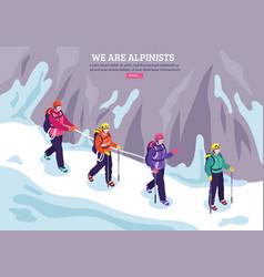 Mountaineering isometric winter background vector
