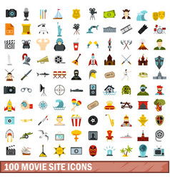 100 movie site icons set flat style vector image
