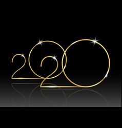 2020 happy new year with gold texture isolated vector image