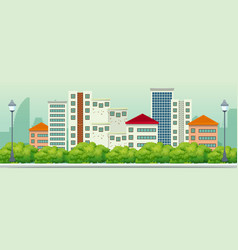 A panorama view od urban city vector