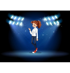 A smart looking girl at the stage vector image