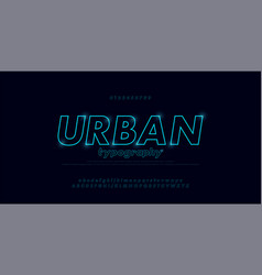 abstract urban thin line font alphabet minimal vector image