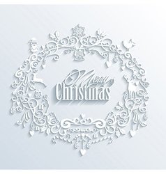 Abstract white merry christmas and happy new year vector