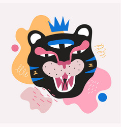 Abstract with man silhouette and black tiger vector