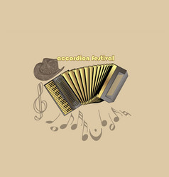accordion festival template vector image