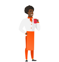 african-american chef cook holding cup of coffee vector image vector image