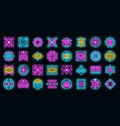 Alchemy icons set neon vector