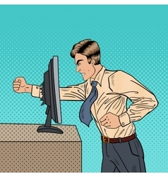 Angry Businessman Crashes Computer Pop Art vector