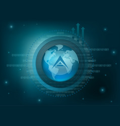 Ark cryptocurrency coin global background vector