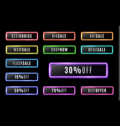big sale shop now flash sale neon buttons set vector image