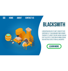 blacksmithing concept banner isometric style vector image