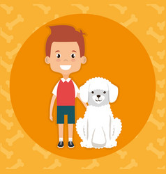 boy with dog character vector image