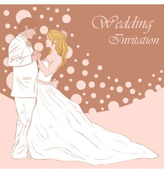 Bride and groom wedding invitation card vector image