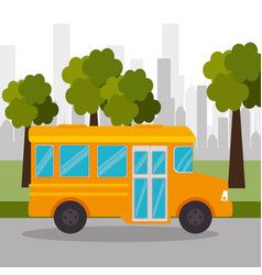 bus school tree urban icon vector image