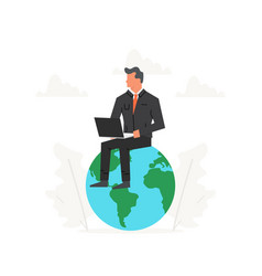 businessman with laptop sits on a big planet vector image