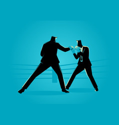 Businessmen in boxing ring fighting each other vector