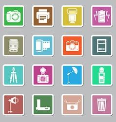 Camera and accessory icon sticker set vector image