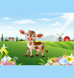 Cartoon cow in rural landscape with blooming flowe vector