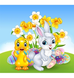 Cartoon happy duck and bunny with colorful Easter vector