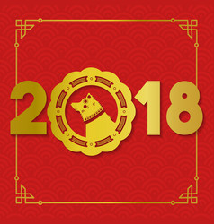 chinese new year gold 2018 paper cut dog card vector image vector image
