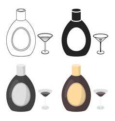 Chocolate liqueur icon in cartoon style isolated vector