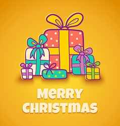 Christmas gifts yellow vector image