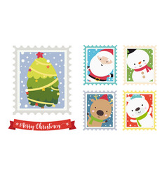 christmas santa snowman bear and reindeer cartoon vector image