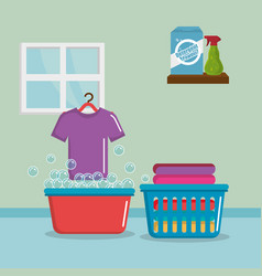 clothes with laundry service icons vector image