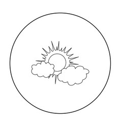 cloudy weather icon in outline style isolated on vector image