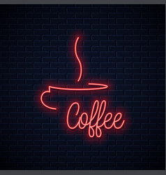 coffee cup neon sign coffee neon lettering vector image