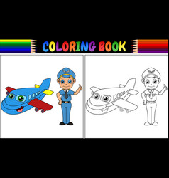Coloring book with pilot kid and airplane vector