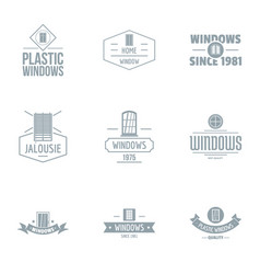 Contemporary window logo set simple style vector