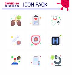 Coronavirus prevention set icons 9 flat color vector