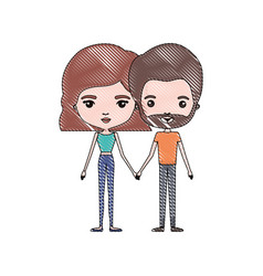 Crayon colored silhouette of slim couple standing vector