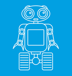 Cute robot on wheels icon outline style vector