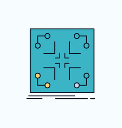 Data infrastructure network matrix grid flat icon vector