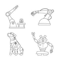 Design of robot and factory logo set of vector