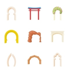 Different arches icons set cartoon style vector