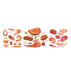 Different types of meat products set isolated set vector