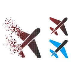 Dissolved pixel halftone jet airplane icon vector