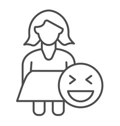Fat woman and emoji thin line icon obese girl vector