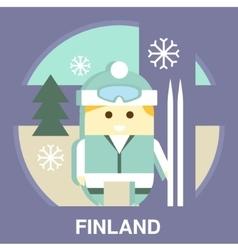 Finn with Ski vector