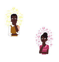 Flat adult african black man woman thinking vector