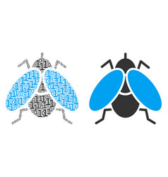 Fly insect composition of binary digits vector