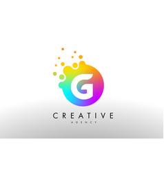 G rainbow dots letter logo letter design with vector
