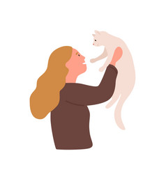 Girl with pet flat kindness vector