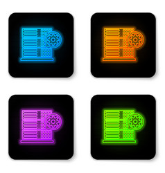 glowing neon server and gear icon isolated on vector image