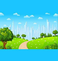 green landscape with trees and town buildings vector image